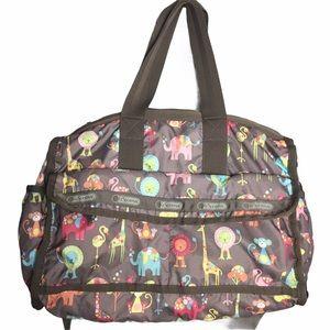 LeSportac Classic Diaper Bag Happy Elephants Print